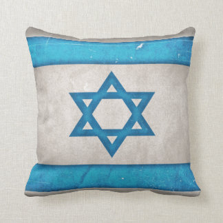 Grungy Israel Flag Star of David Throw Pillow