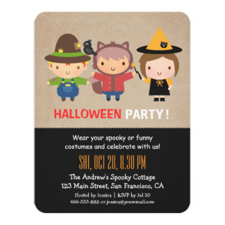 Grungy Kids Halloween Party Invitations