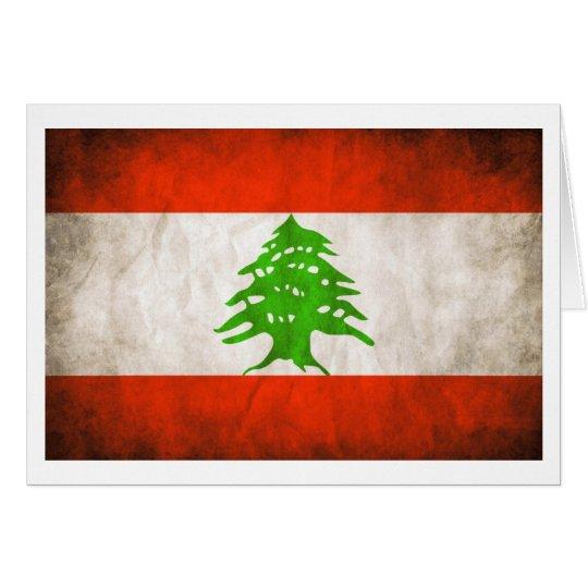 Grungy Lebanon Flag Card