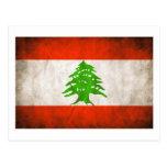 Grungy Lebanon Flag Post Card
