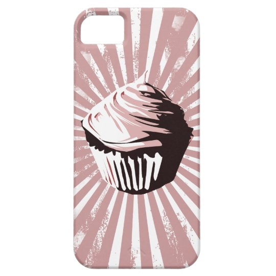 Grungy lines pink cupcake iPhone SE/5/5s case