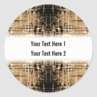 Grungy Look Brown Abstract. Classic Round Sticker