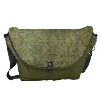 Grungy Moss Green Pattern Messenger Bag