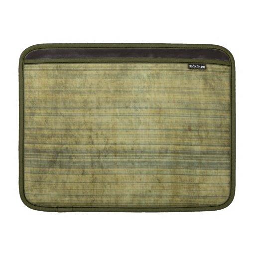 Grungy Moss Green Static Stripe Pattern MacBook Sleeves
