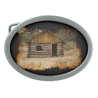Grungy Mountain Cabin Belt Buckle