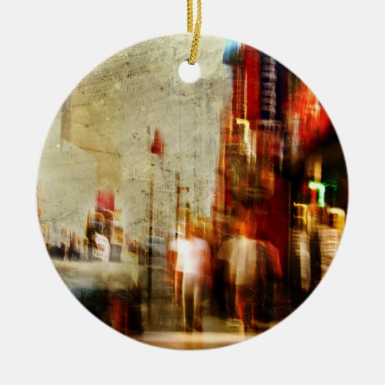 Grungy NYC Abstract Ceramic Ornament