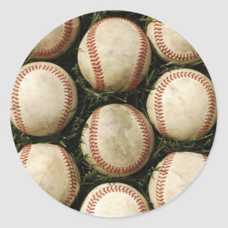 Grungy Old Baseballs Classic Round Sticker