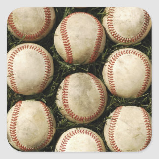 Grungy Old Baseballs Square Sticker