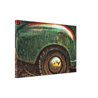 Grungy Old Green Truck Hubcap -Stretched Canvas Stretched Canvas Print