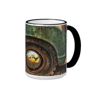 Grungy Old Green Truck Hubcap Tire-Mug Ringer Mug