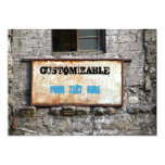 Grungy Old Sign on Abandoned Warehouse Personalized Invitations