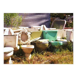 """Grungy old Toilets in a Row 5.5"""" X 7.5"""" Invitation Card"""