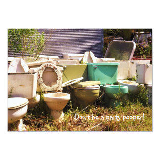 """Grungy old Toilets in a Row 5"""" X 7"""" Invitation Card"""