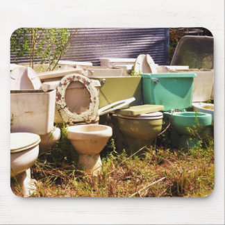 Grungy old Toilets in a Row Mousepads