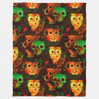 Grungy Owls seamless pattern I + your idea Fleece Blanket