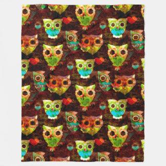 Grungy Owls seamless pattern II + your idea Fleece Blanket