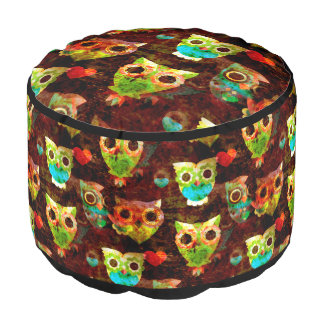 Grungy Owls seamless pattern II + your idea Round Pouf