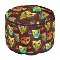Grungy Owls seamless pattern II   your idea Pouf