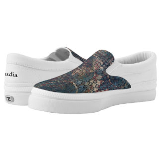Grungy Patterns with Messy Patchwork of Textures Slip-On Sneakers