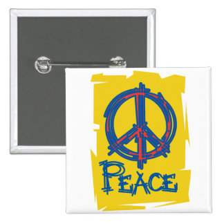 Grungy Peace Sign 2 Inch Square Button