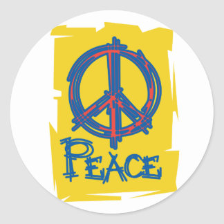 Grungy Peace Sign Classic Round Sticker