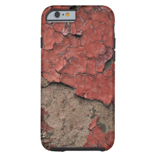 Grungy peeling chipped red paint against concrete iPhone 6 case