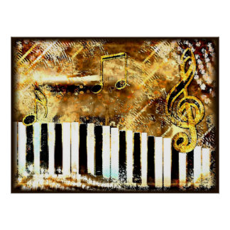 Grungy piano music note Poster