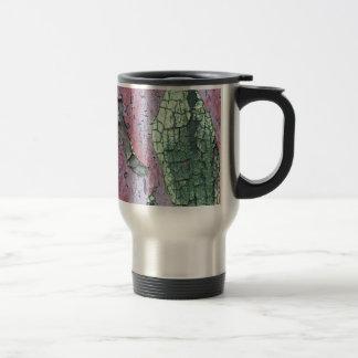Grungy Pink and Green Peeling Paint Travel Mug
