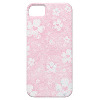 Grungy Pink and White Flower Heart Pattern iPhone SE/5/5s Case