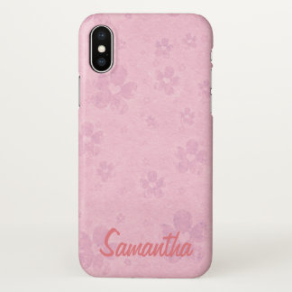 Grungy Pink Flower Heart Name Template iPhone X Case
