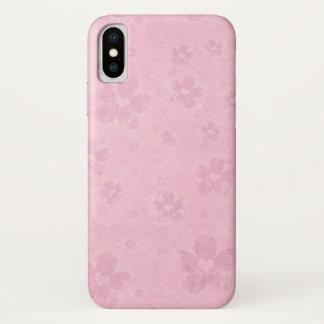 Grungy Pink Flower Heart Pattern iPhone X Case