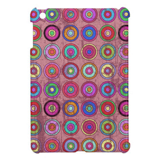Grungy Pink Retro Circle Pattern iPad Mini Covers