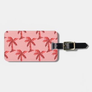 Grungy Pink Sequin Palm Tree Image Bag Tag