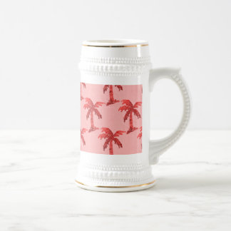 Grungy Pink Sequin Palm Tree Image Beer Stein