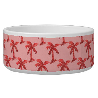 Grungy Pink Sequin Palm Tree Image Bowl