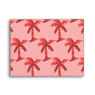 Grungy Pink Sequin Palm Tree Image Envelope