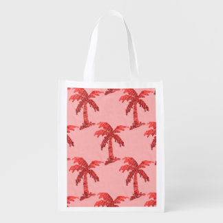 Grungy Pink Sequin Palm Tree Image Grocery Bag