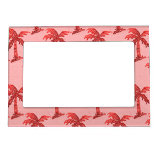 Grungy Pink Sequin Palm Tree Image Magnetic Picture Frame