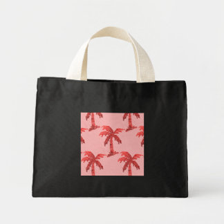 Grungy Pink Sequin Palm Tree Image Mini Tote Bag