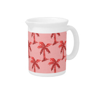 Grungy Pink Sequin Palm Tree Image Pitchers