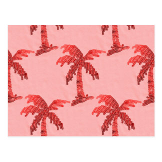 Grungy Pink Sequin Palm Tree Image Postcard