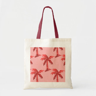 Grungy Pink Sequin Palm Tree Image Tote Bag
