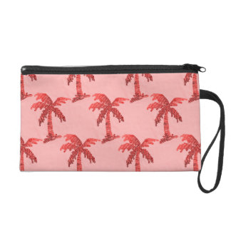 Grungy Pink Sequin Palm Tree Image Wristlet