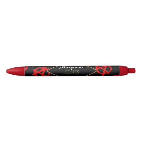 Grungy Red Anarchy Symbol Black Ink Pen