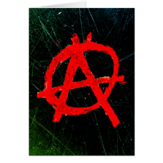 Grungy Red Anarchy Symbol Card