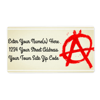 Grungy Red Anarchy Symbol Label