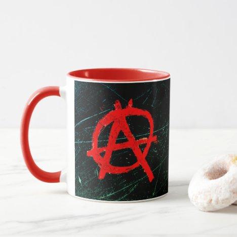 Grungy Red Anarchy Symbol Mug