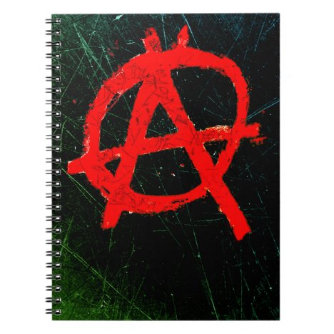 Grungy Red Anarchy Symbol Notebook