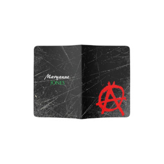Grungy Red Anarchy Symbol with Monogram Passport Holder
