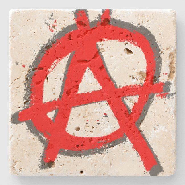 Grungy Red Anarchy Symbol with Monogram